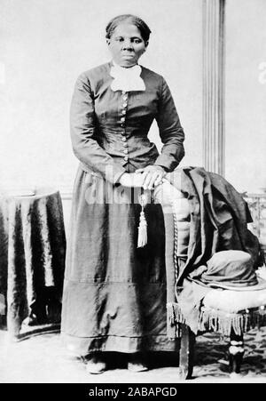 Vintage portrait photo of Harriet Tubman (c1820 – 1913). Born into slavery, Tubman (birth name Araminta Ross) escaped and later guided other slaves to freedom via the Underground Railroad before working as a nurse, spy and scout for the Union Army during the American Civil War. In later life she engaged in humanitarian work and promoted the cause of women's suffrage. Photo circa 1875 by Harvey B Lindsley. - Stock Photo
