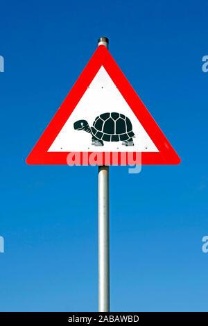 Verkehrsschild - Achtung Schildkröten - Afrika - Stock Photo