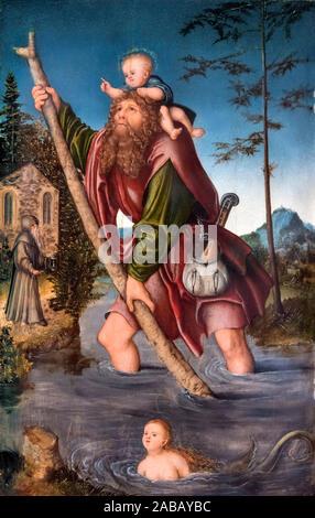 Saint Christopher by Lucas Cranach the Elder (1472-1553), oil on linden panel, c.1518-20 - Stock Photo