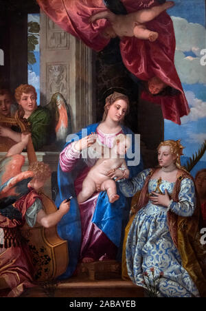 The Mystic Marriage of Saint Catherine by Paolo Veronese (1528–1588), oil on canvas, c.1550-60 - Stock Photo