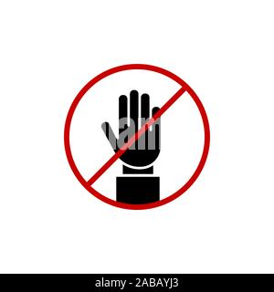 STOP! No entry! Red stop hand sign for prohibited activities. Stop hand Vector illustration, stop hand red badge, stop hand icon, black stop hand pict - Stock Photo