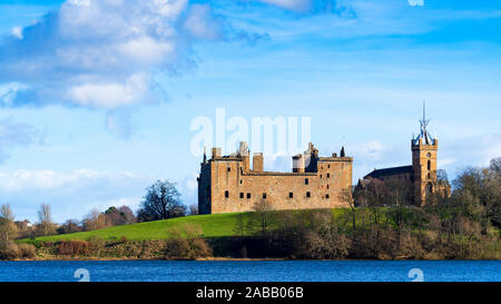 View of Linlithgow Palace in Linlithgow, West Lothian, Scotland, UK. Birthplace of Mary Queen of Scots. - Stock Photo