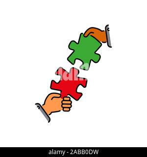 puzzles connect in hands color vector icon, sign, symbol. Business matching concept. Connecting elements puzzle in hand businessman. Working together