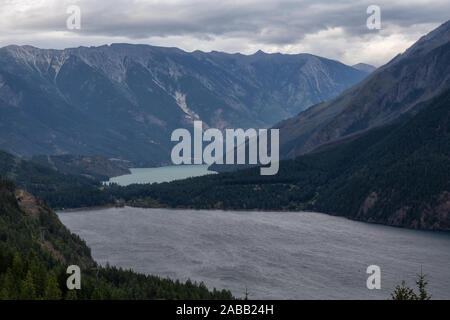 Aerial View of a small remote town, Seton Portage, between Anderson and Seton Lake. Located near Lillooet, BC, Canada. - Stock Photo