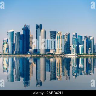 Daytime Skyline view of West Bay business district in Doha, Qatar - Stock Photo