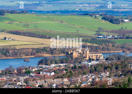 Linlithgow Palace and town of Linlithgow in West Lothian, Scotland, UK - Stock Photo