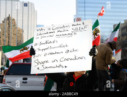 Torontonians gather at Mel Lastman Square in support of the protesters in Iran while condemning Canadian media for their silence. - Stock Photo