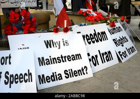 Torontonians gather at Mel Lastman Square to show support for the protesters in Iran while condemning the media for their silence. - Stock Photo