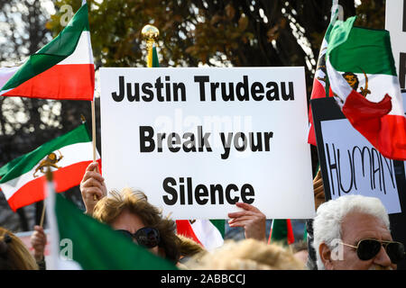 Torontonians gather at Mel Lastman Square to show support for the protesters in Iran while condemning Canadian Prime Minister Justin Trudeau's silence - Stock Photo