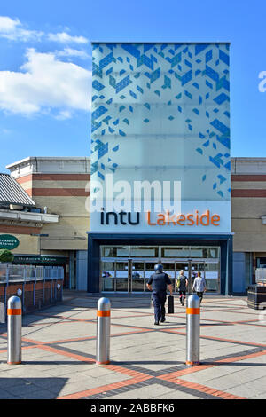 Security bollards protect Intu Properties plc shopping mall entrance & shoppers at Thurrock Lakeside indoor shopping centre Essex England UK - Stock Photo