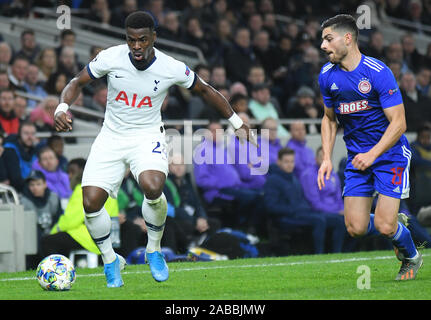 LONDON, ENGLAND - NOVEMBER 26, 2019: Serge Aurier pictured during the 2019/20 UEFA Champions League Group B game between Tottenham Hotspur FC and Olympiacos FC at Tottenham Hotspur Stadium. - Stock Photo