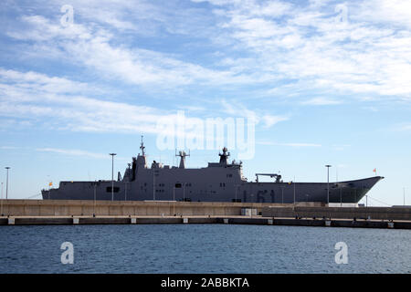 November 2019. Valencia, Spain. The Juan Carlos I aircraft carrier docked at the port of Valencia during an open day. - Stock Photo