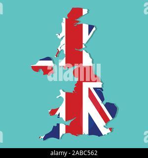 united kingdom map with united kingdom national flag inside vector illustration - Stock Photo