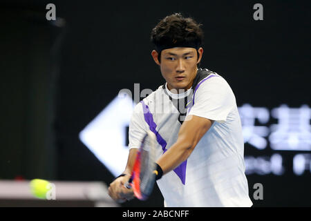 Chinese professional tennis player Zhang Zhizhen competes against Austrian professional tennis player Dominic Thiem at the second round of 2019 China - Stock Photo