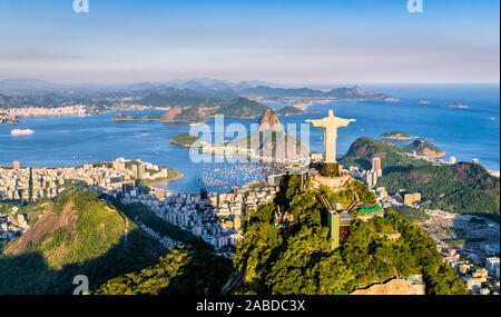 Rio de Janeiro, Brazil : Aerial view of Christ and Botafogo Bay from high angle - Stock Photo