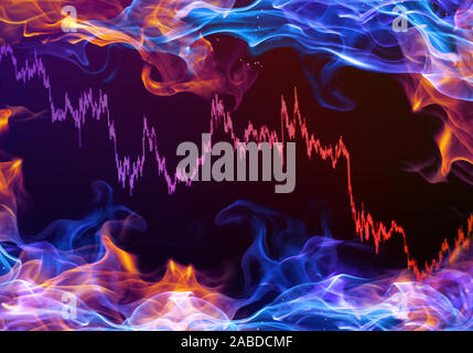 Abstract Illustration Of A Multicolored Stock Prices Market Chart On A Colorful Smoky Background - Stock Photo
