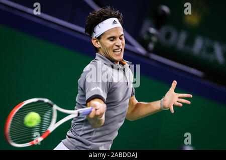 Austrian professional tennis player Dominic Thiem competes against Spanish professional tennis player Pablo Carreno Busta during the second round of 2 - Stock Photo
