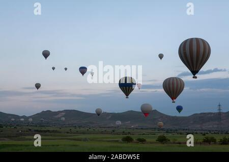 hot air balloons at cappadociain turkey - Stock Photo