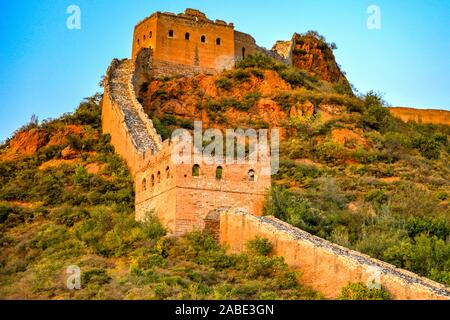 Picture of the sunset at the Jingshanling Great Wall in Chengde city, north China's Hebei province, 6 October 2019.
