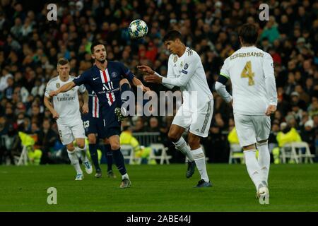 Madrid, Spain. 27th Nov, 2019. PABLO SARABIA AND RAPHAEL VARANE DURING MACTH OF UEFA CHAMPIONS LEAGUE REAL MADRID VERSUS PARIS SAINT GERMAIN AT SANTIAGO BERNABEU STADIUM. TUESDAY, 26 NOVEMBER 2019 Credit: CORDON PRESS/Alamy Live News - Stock Photo