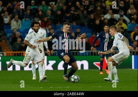 Madrid, Spain. 27th Nov, 2019. THOMAS MEUNIER DURING MACTH OF UEFA CHAMPIONS LEAGUE REAL MADRID VERSUS PARIS SAINT GERMAIN AT SANTIAGO BERNABEU STADIUM. TUESDAY, 26 NOVEMBER 2019 Credit: CORDON PRESS/Alamy Live News - Stock Photo