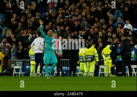 Madrid, Spain. 27th Nov, 2019. KEYLOR NAVAS DURING MACTH OF UEFA CHAMPIONS LEAGUE REAL MADRID VERSUS PARIS SAINT GERMAIN AT SANTIAGO BERNABEU STADIUM. TUESDAY, 26 NOVEMBER 2019 Credit: CORDON PRESS/Alamy Live News - Stock Photo