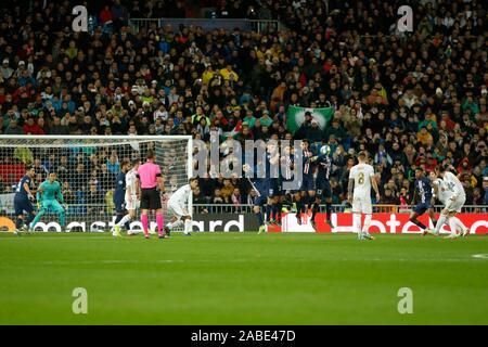Madrid, Spain. 27th Nov, 2019. GARETH BALE DURING MACTH OF UEFA CHAMPIONS LEAGUE REAL MADRID VERSUS PARIS SAINT GERMAIN AT SANTIAGO BERNABEU STADIUM. TUESDAY, 26 NOVEMBER 2019 Credit: CORDON PRESS/Alamy Live News - Stock Photo