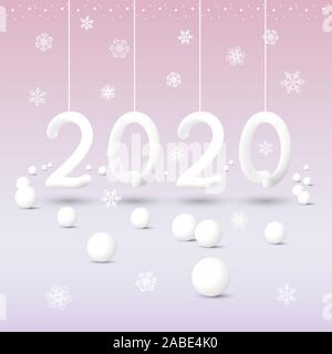 New Year 2020 abstract white numbers hanging on ribbons with snowflakes on a pink background with a gradient - Stock Photo