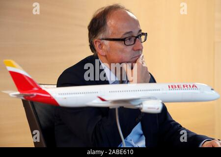 Madrid, Spain. 27th Nov, 2019. Spanish airways Iberia's CEO, Luis Gallego, talks to the journalist during an interview granted to Agencia Efe, in Madrid, Spain, 26 November 2019 (issued on 27 November 2019). Gallego thinks that the merge of Air Europa with Air France-KML would have been a 'disaster' for Adolfo Suarez Madrid-Barajas international Airport. IAG purchased Air Europa through Iberia for one billion euro, in an operation that it is pending of permission by regulatory authorities. Credit: Javier Lizon/EFE/Alamy Live News - Stock Photo
