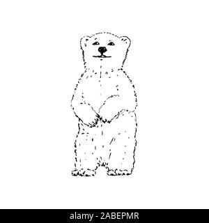 Polar bear. Black outline on white background. Picture can be used in greeting cards, posters, flyers, banners, logo, further design etc. Vector illustration. EPS10 - Stock Photo