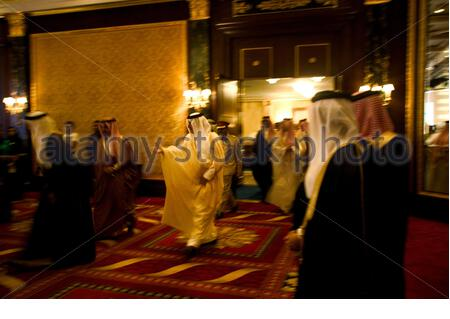 Prince Khalid Al Faisal, governor of Makkah province, along with dignitaries at the FIKR conference 2007 in Manama, Bahrain. - Stock Photo