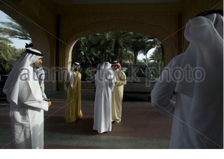 Sheikh Mayed bin Mohammed bin Rashid Al Maktoum, Chairman of Dubai Culture and Arts Authority, waiting for his father Sheikh Mohamed to arrive at Art Dubai Fair in Madinat Jumeirah, Dubai, UAE. - Stock Photo