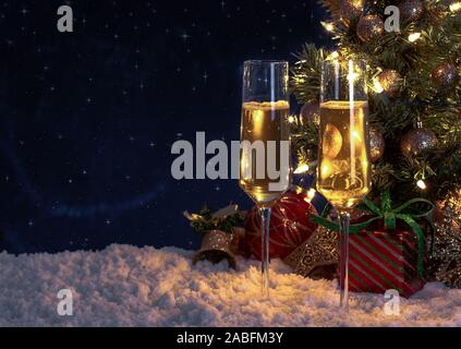 Glasses of champagne wiith decorated Christmas tree on snow against a starry night background - Stock Photo