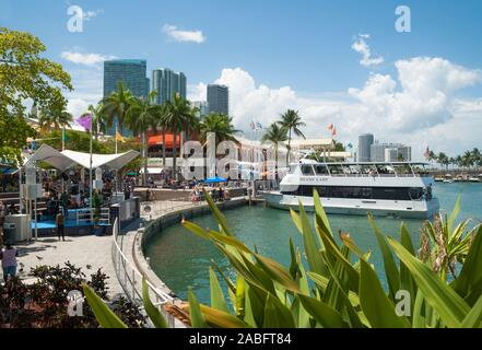 View of the Bayside Market in the downtown Miami - Stock Photo