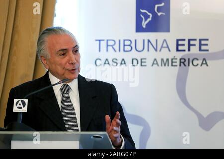 Madrid, Spain. 27th Nov, 2019. Former Brazilian President Michel Temer takes part in a conference held by Spanish EFE news agency and Casa America in Madrid, Spain, 27 November 2019. Credit: Chema Moya/EFE/Alamy Live News - Stock Photo