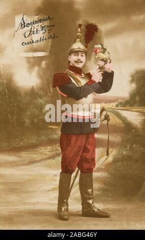 Photography , Post card of the first world war : a cuirassier - Stock Photo