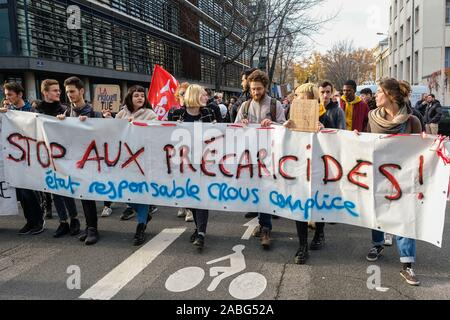 On 26 November 2019, Lyon, Auvergne-Rhône-Alpes, France, students' demonstration. Procession head with banner - Stock Photo