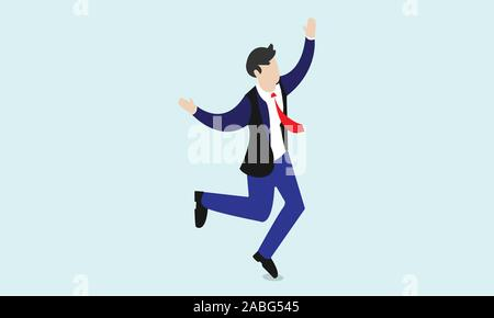 businessman jumping on white background - Stock Photo