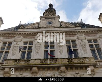 Tribute to the 13 French soldiers of Operation Barkhane Killed in Mali monday, November 25, 2019,The French  Flag of  City Hall of Niort at  half mast - Stock Photo