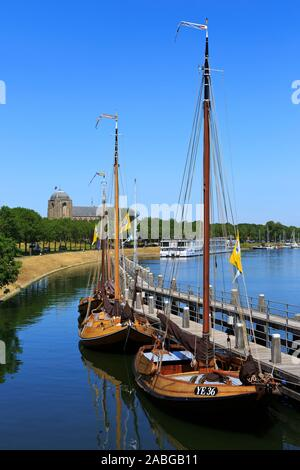 Panoramic view over the town of Veere (Zeeland), Netherlands from the locks that give access to Lake Veere (Veerse Meer) from the North Sea - Stock Photo
