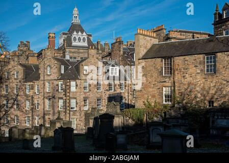 Candlemaker Row in Edinburgh's Old Town, viewed from Greyfriars Kirkyard. - Stock Photo
