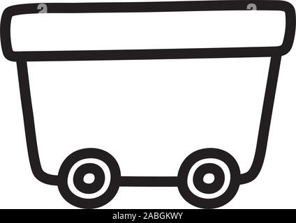 wagon on wheels toy plastic icon on white background vector illustration - Stock Photo