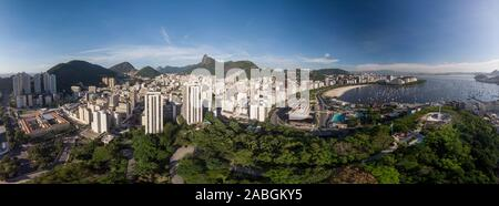 Panoramic view of Rio de Janeiro with a cityscape of Botafogo and Guanabara bay and construction site of the new Holocaust museum in the foreground - Stock Photo