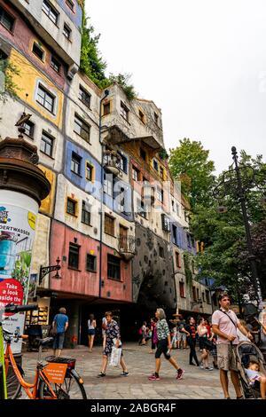 Hundertwasserhaus coloful house in Vienna Wien, Austria