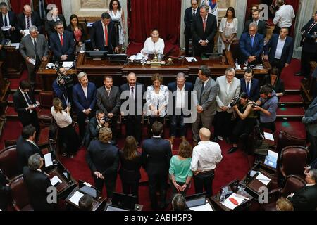 Buenos Aires, Argentina. 27th Nov, 2019. The 24 Argentine elect senators in the elections of last 27 October, a third of the high camara wich is going to be dominated for the peronismo, swear their positions in a ceremony preside by the Vice President and President of the senate, Gabriela Michetti in Buenos Aires, Argentina, 27 November 2019. Credit: Juan Ignacio Roncoroni/EFE/Alamy Live News - Stock Photo