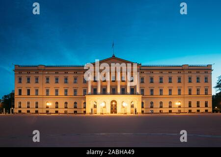 Oslo, Norway. Royal Palace - Det Kongelige Slott In Summer Evening. Night View Of Famous And Popular Place. - Stock Photo