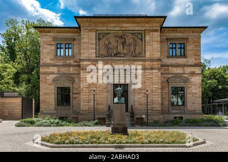 Exterior view of the Wahnfried, villa of the famous musician, composer Wilhelm Richard Wagner, with the status of Ludwig II in front, king of Bavaria, - Stock Photo