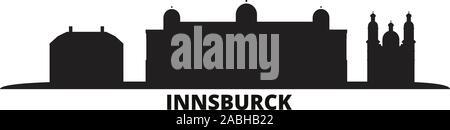 Austria, Innsburck city skyline isolated vector illustration. Austria, Innsburck travel cityscape with landmarks - Stock Photo