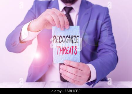 Conceptual hand writing showing Recognize Threats. Concept meaning potential to cause serious harm to a computer system Man holds empty paper with cop - Stock Photo
