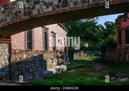 Hacienda De Los Santos Resort & Spa. Stone bridge in a stream that crosses Álamos, Sonora Mexico, a magical and colonial town. This Mexican villa was